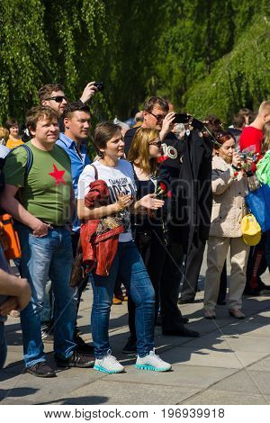 BERLIN - MAY 09, 2015: Visitors to the Soviet memorial in Treptow Park.