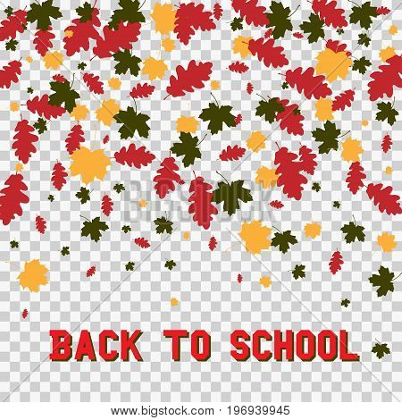 Back to school and autumn leaves isolated on transparent background. Vector illustration of colorful scattered dust. For sale gift card, certificate, voucher.