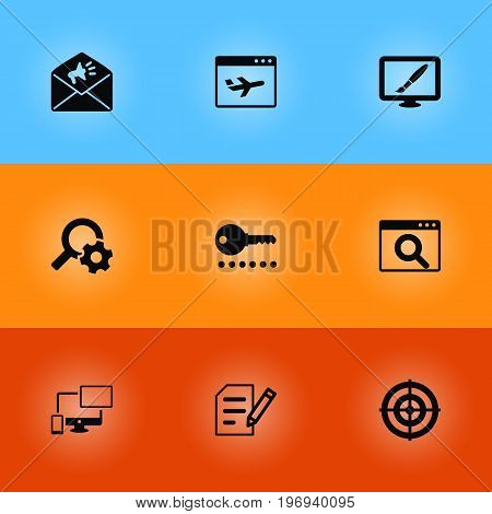Collection Of Statistics, Design, Engine And Other Elements.  Set Of 9 Search Icons Set.