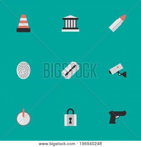 Elements Grille, Blade, Weapon And Other Synonyms Closed, Blade And Password.  Vector Illustration Set Of Simple Criminal Icons.
