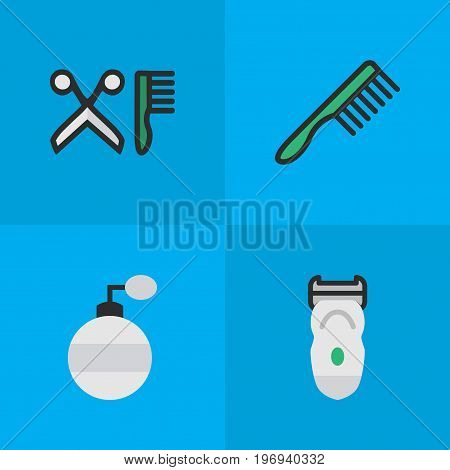 Elements Fragrance, Electronic, Hairbrush And Other Synonyms Tool, Hairdresser And Slavering.  Vector Illustration Set Of Simple Barber Icons.