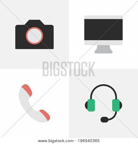 Elements Microphone, Photo Apparatus, Screen And Other Synonyms Handset, Phone And Monitor.  Vector Illustration Set Of Simple Devices Icons.