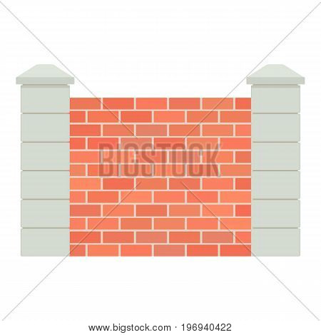 Brick fence icon. Cartoon illustration of brick fence vector icon for web on white background