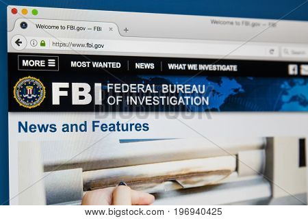 LONDON UK - JUNE 8TH 2017: The homepage of the official website for the Federal Bureau of Investigation on 8th June 2017.