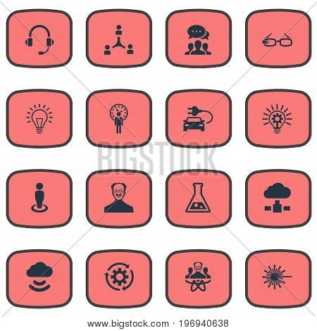 Elements Scholar, Bulb, Headphone And Other Synonyms Bulb, Tube And Professor.  Vector Illustration Set Of Simple Creativity Icons.
