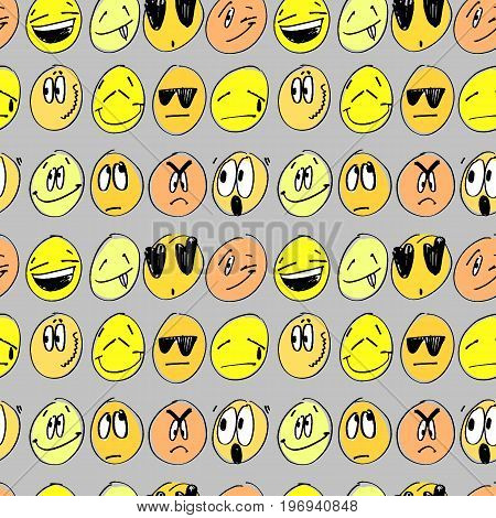 Seamless pattern with coloful emoticons. Background with cartoon signs of different emotional states. Vector Illustration.