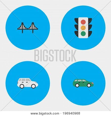 Elements Suv, Bridgework, Traffic Lights And Other Synonyms Jumper, Lighter And Crossover.  Vector Illustration Set Of Simple Transportation Icons.