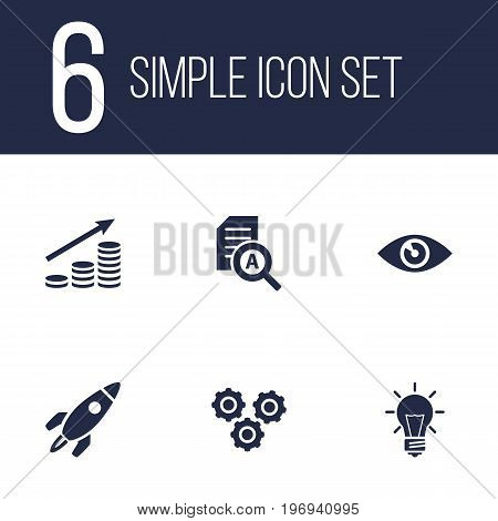 Collection Of Vision, Rocket, Gear And Other Elements.  Set Of 6 Startup Icons Set.