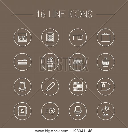 Collection Of Staple, Pencil, Bookshelf And Other Elements.  Set Of 16 Office Outline Icons Set.