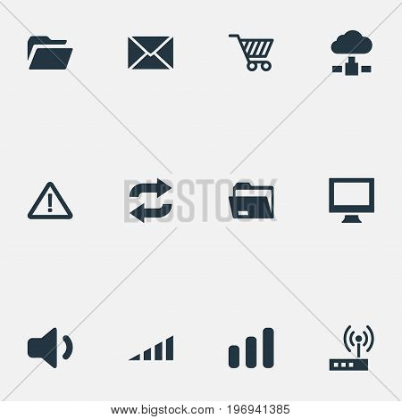 Elements Monitor, Folder, Dossier And Other Synonyms Alert, Display And Modem.  Vector Illustration Set Of Simple Technology Icons.