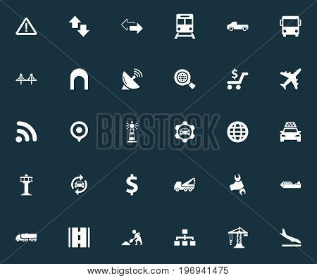 Elements Economy, Reverse Directions, Subway And Other Synonyms Construction, Location And Bus.  Vector Illustration Set Of Simple Public Icons.