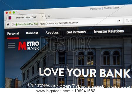 LONDON UK - JUNE 8TH 2017: The homepage of the official website for the Metro Bank on 8th June 2017.