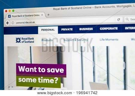 LONDON UK - JUNE 8TH 2017: The homepage of the official website for the Royal Bank of Scotland on 8th June 2017.