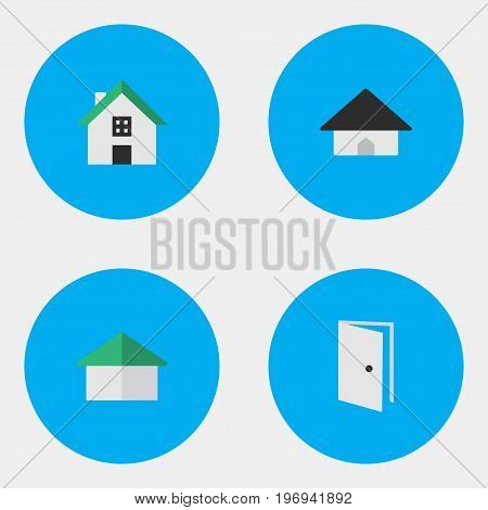 Elements Base, Home, Architecture And Other Synonyms Building, Home And Door.  Vector Illustration Set Of Simple Real Icons.