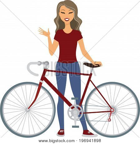 Young cheerful woman standing with her bicycle