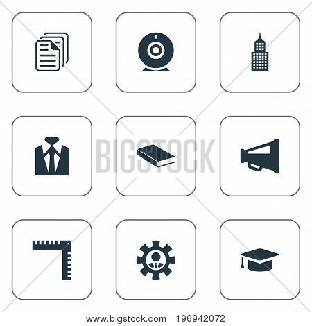 Elements Measurement, Papers, Academy And Other Synonyms Camera, Speaker And Outfit.  Vector Illustration Set Of Simple Speaker Icons.