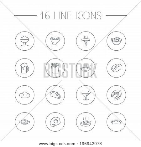 Collection Of Mexican Food, Beer, Japanese Roll And Other Elements.  Set Of 16 Food Outline Icons Set.