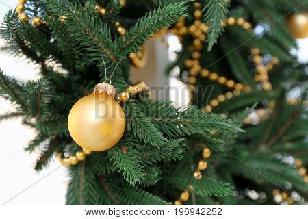 Beautiful trendy Christmas wreath, closeup