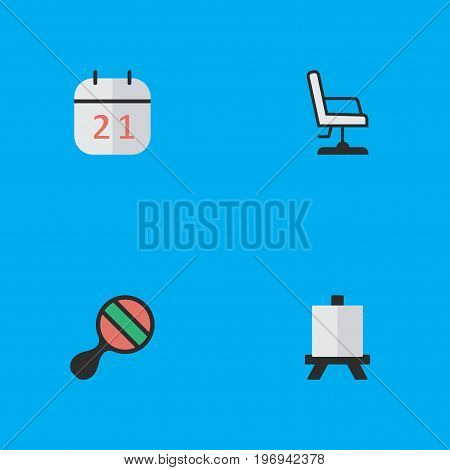 Elements Easel, Date Block, Armchair And Other Synonyms Easel, Board And Painting.  Vector Illustration Set Of Simple Knowledge Icons.
