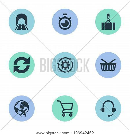 Elements Countdown, Cycle, Retail And Other Synonyms Equipment, Connection And Round.  Vector Illustration Set Of Simple Logistics Icons.