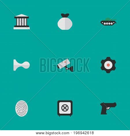 Elements Weapon, Vault, Supervision And Other Synonyms Save, Hunting And Jail.  Vector Illustration Set Of Simple Offense Icons.