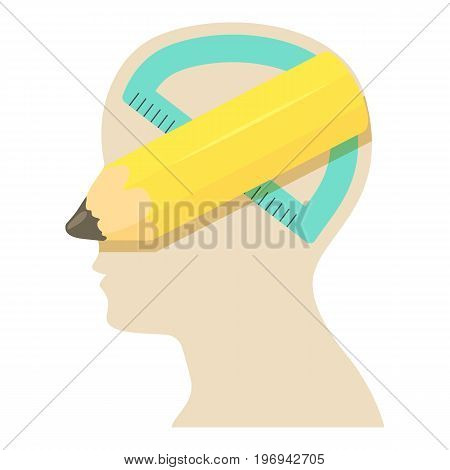 Head with pencil icon. Cartoon illustration of head with pencil vector icon for web on white background