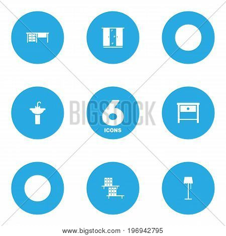 Collection Of Worktop, Sink, Illuminator And Other Elements.  Set Of 6 Set Icons Set.