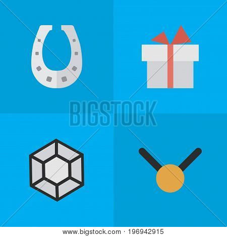 Elements Brilliant, Present, Metal And Other Synonyms Precious, Gift And Medal.  Vector Illustration Set Of Simple Prize Icons.