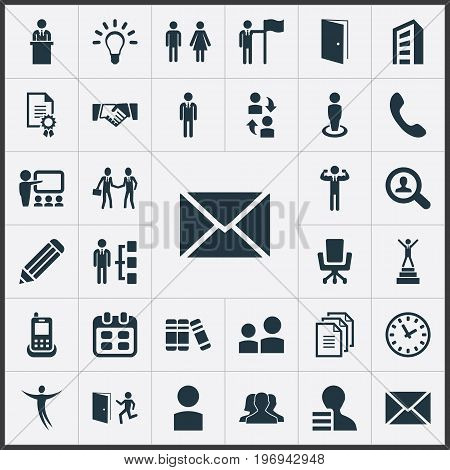 Elements Date Block, Evacuation, Worker And Other Synonyms Job, Cooperation And Demonstration.  Vector Illustration Set Of Simple Human Icons.