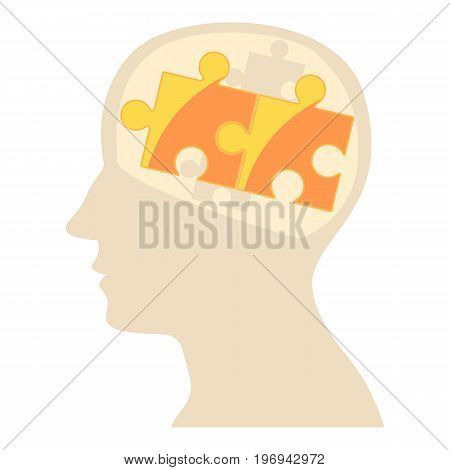 Head with puzzle icon. Cartoon illustration of head with puzzle vector icon for web on white background