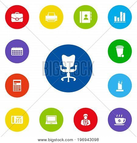 Collection Of Diplomat, Laptop, Manager And Other Elements.  Set Of 13 Cabinet Icons Set.