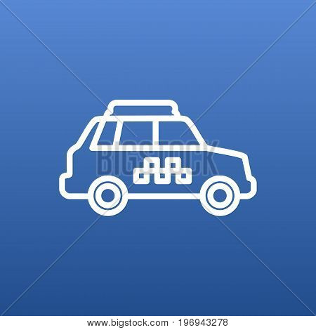 Vector Taxi Element In Trendy Style.  Isolated Taxicab Outline Symbol On Clean Background.