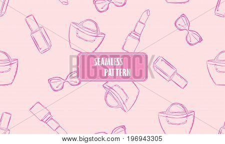 Vector Fashion Hand Drawn Seamless Pattern With Women's Accessories And Cosmetics. Pink Background W