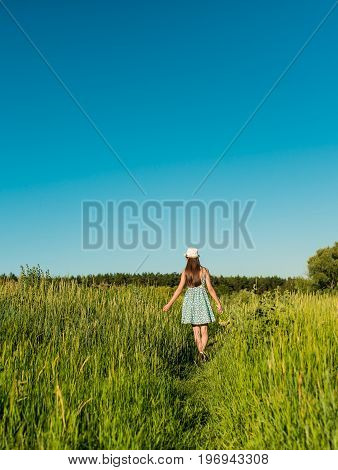 Young romantic teenage girl in blue dress and hat walking the field at sunset. Standing Back to camera. A girl with brown long hair. Summer time