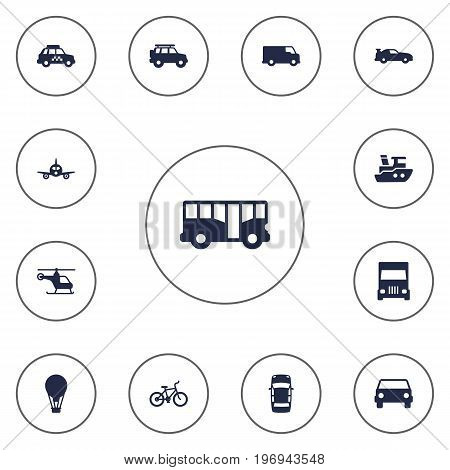 Collection Of Cabriolet, Copter, Truck And Other Elements.  Set Of 13 Shipping Icons Set.
