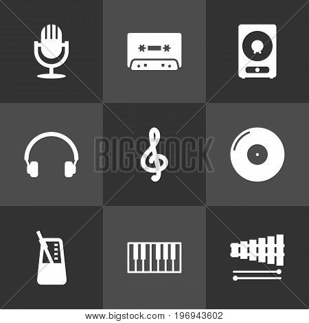 Collection Of Percussion, Earphones, Tape And Other Elements.  Set Of 9 Song Icons Set.