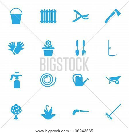 Collection Of Tools, Garden, Spray Bootle And Other Elements.  Set Of 16 Horticulture Icons Set.