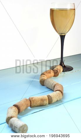 Path To Cup Of Wine Glass From Corks