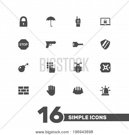 Collection Of Hardhat, Notebook, Key And Other Elements.  Set Of 16 Procuring Icons Set.