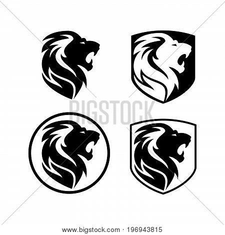 Lion head logo. Wild lion head graphic illustration. Design element.