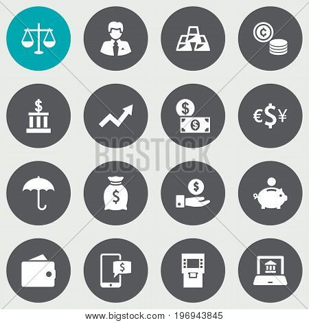 Collection Of Currency, Save Money, Balance And Other Elements.  Set Of 16 Finance Icons Set.