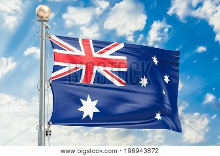 Australian flag waving in blue cloudy sky 3D rendering