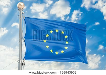 European Union flag waving in blue cloudy sky 3D rendering