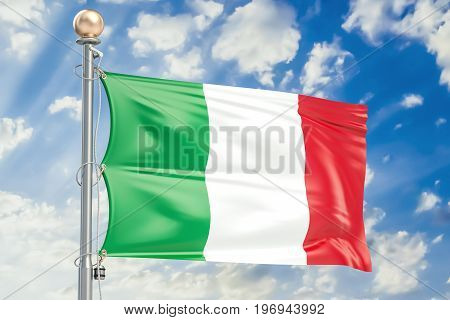 Italian flag waving in blue cloudy sky 3D rendering