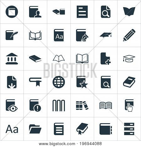 Elements Template, History, Love Affair And Other Synonyms File, Stack And Hat.  Vector Illustration Set Of Simple Books Icons.
