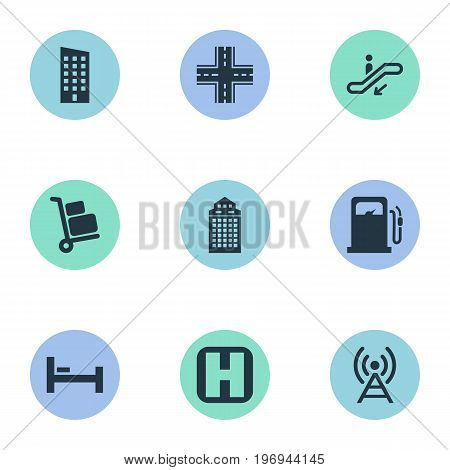 Elements Airport Cart, Skyscraper, Escalator And Other Synonyms Building, Intersection And Home.  Vector Illustration Set Of Simple City Icons.