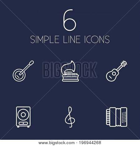 Collection Of Harmonica, Loudspeaker, Acoustic And Other Elements.  Set Of 6 Music Outline Icons Set.