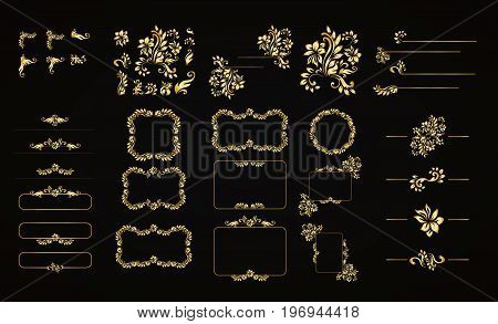 Golden calligraphic vector design elements on the black background. Gold menu and invitation border, frame, divider, page decor. Luxury style calligraphic