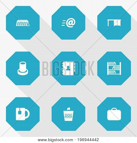 Collection Of Book, Case , Stand Elements.  Set Of 9 Workspace Icons Set.