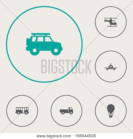 Collection Of Copter, Airship, Lorry And Other Elements.  Set Of 6 Shipping Icons Set.